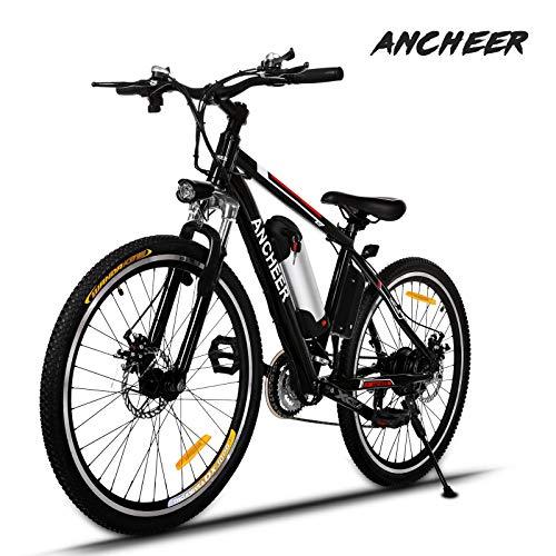ANCHEER Elektrofahrrad 26 Zoll e Bike Mountainbike, 25-50km/h Meilen Kilometerstand, 36V 8AH Abnehmbarer Akku and 21 Gang Getriebe