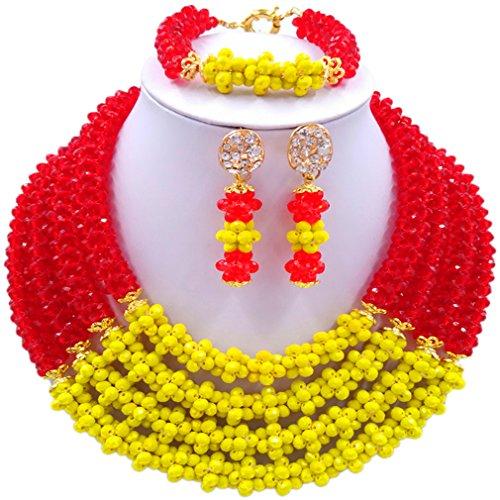 Laanc Naturel Cristal Bijoux Définit 4rows 45,7cm Collier du Nigeria Mariage africain Bracelet de perles Boucles d'oreilles Yellow and Red