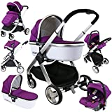 iSafe Marvel 3in1 Travel System Includes Car Seat & Carrycot (Plum Pearl)