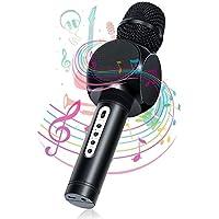 Karaoke Bluetooth microfono, nasum Caricabatterie e microfono wireless musica giocare e cantare per adulti e bambini compatibile con Android/iOS, PC o all smartphone (Nero)