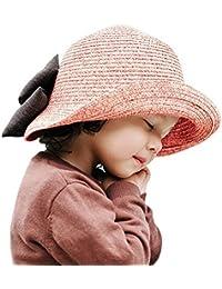 ARAUS Sombreros de Paja de Sol Playa Gorra de Bola Ala Ancho Protector  Visera de Verano para Niñas Chicas 2… e631ca40e63