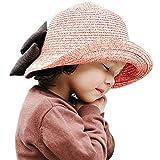 ARAUS Sombreros de Paja de Sol Playa Gorra de Bola Ala Ancho Protector Visera de Verano para Niñas Chicas 2-10Años
