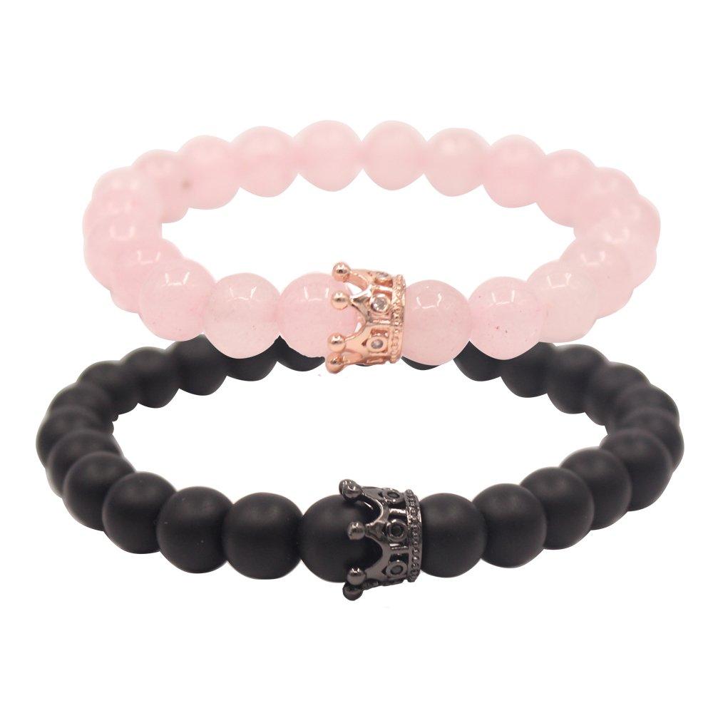 UEUC Armband mit CZ Krone König & Queen schwarzen Achat und Rosa Achat 8 mm Glasperlen Armband