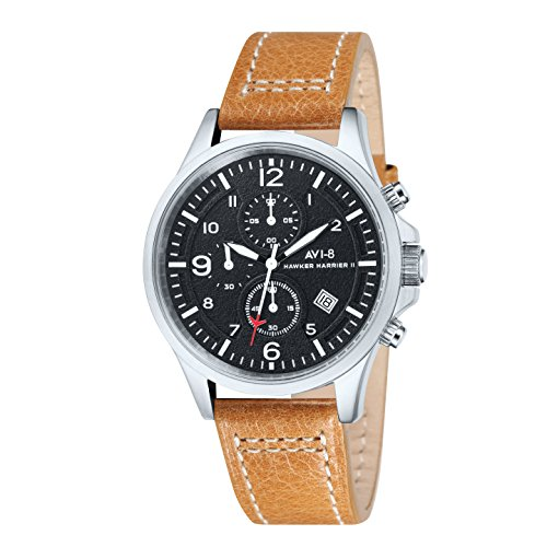 avi-8-mens-hawker-harrier-ii-quartz-watch-with-black-dial-chronograph-display-and-brown-leather-stra
