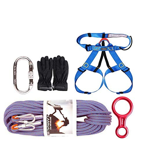 GYHHHM Seilset, 10,5 mm Klettern-Rope im Freien, Home Fire Escape Rescue Gym Klettern Ropes Klettersteig Set 10m