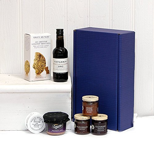 Port & Stilton Biscuits Gents Blue Food Hamper Box - Gift ideas for Christmas, Dad, Fathers Day, Grandad, Husband, him, Business, Corporate, Birthday, Teacher