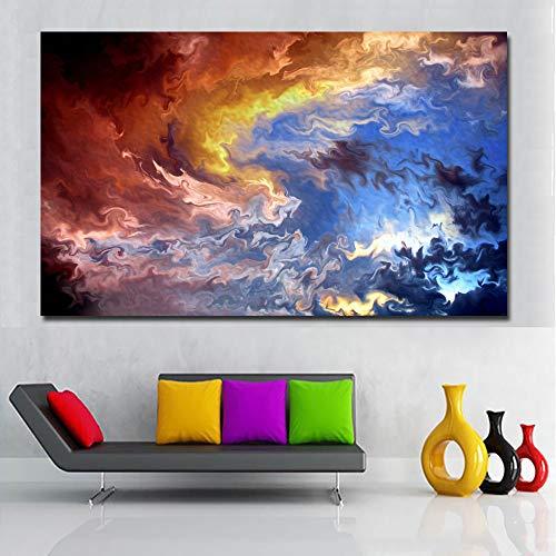 Abstrakte Kunst HD Print Leben ist ein See moderne abstrakte blaue Malerei drucken Wand Kunst Leinwand drucken Wohnzimmer Home Decoration Poster (kein Rahmen) A2 20 x 35 cm
