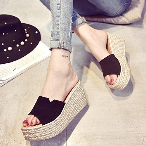 LvYuan Pantofole estive delle donne / Comfort Casual Fashion / tacco tallone / fondo spessa / piattaforma impermeabile / tacco alto / sandali scrub / beach shoes Green