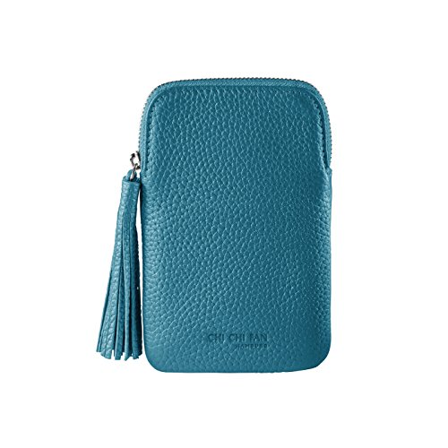 CHI CHI FAN Mobile Bag - Petrol   Smartphone Hülle aus echtem Leder   Top Qualität und Design treffen auf maximale Funktion und Sicherheit für ihr Handy   Schutz vor Schmutz und Schäden