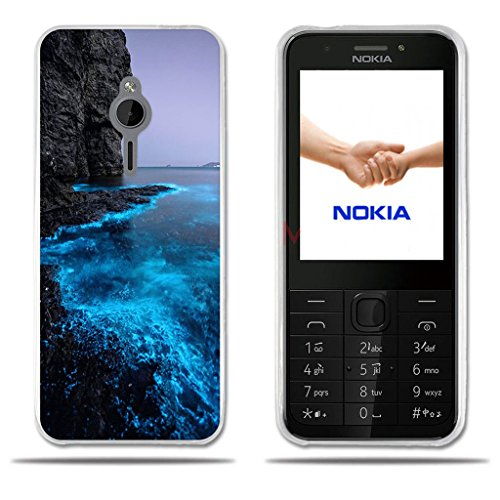 Fubaoda Nokia 230 Hülle, [Fluoreszierende Küste] Transparente Silizium Clear TPU Glamour Serie Slim Fit Shockproof Flexible Vollschutz Anti-Shock-Design-Schutz für Nokia 230