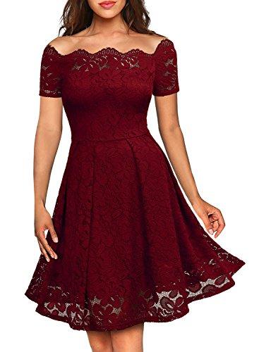 MIUSOL Women's Off Shoulder Short Sleeve Lace Evening Dress