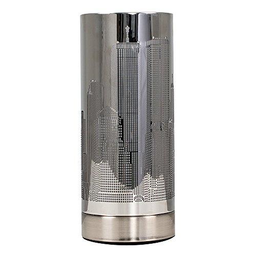 MiniSun – Moderne, zylinderförmige und Touch-Me Tischlampe mit einem glänzigen verchromten Finish und einem Lampenschirm mit Horizontmotiv von New York (1 Licht Glocke-glas)
