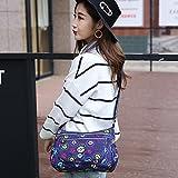 Womens Multi Pocket Casual Handbag Travel Bag Messenger Cross Body Bag (Blue mushroom)