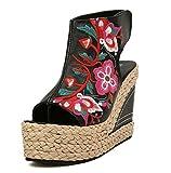 Huaishu Donna Sandali Nuovo stile etnico per donna Sandali open toe  Pendenza con scarpe ricamate Tacco 353a37a2e4d