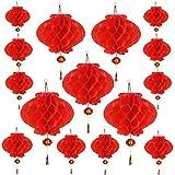 Aniparty 15 Stück Chinesische Neujahrslaternen mit Fu-Charakteren chinesische rote Glücks-Laternen zum Aufhängen, Dekoration für chinesische Frühlingsfeste, 2 Größen