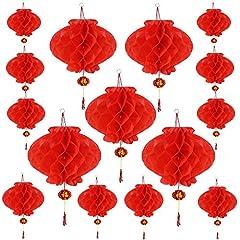 Idea Regalo - Aniparty 15Pezzi Capodanno Cinese Lanterne Rosse con Fu Carattere Cinese Rosso Lucks Lanterne Decorazione per Festa di Primavera Cinese–2Dimensioni