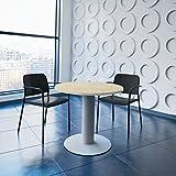 WeberBÜRO Optima runder Besprechungstisch Ø 80 cm Ahorn Silbernes Gestell Tisch Esstisch Küchentisch