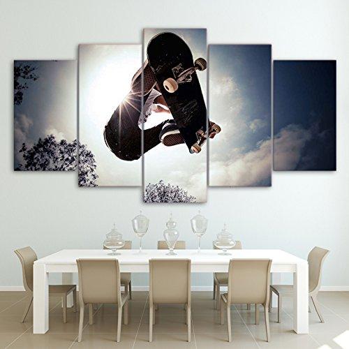MYJXKL 5 Leinwanddrucke Wandkunst Leinwand Gemälde 5 Stück Skateboard Bilder Sport Poster Home Decor Framework für Wohnzimmer