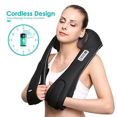 Naipo Nackenmassagegeräte wiederaufladbare Massagegerät freihändige Massagekissen für Nacken Schulter Rücken mit Lang-Gürtel Shiatsu Kneten Wärmefunktion verstellbare Intensität für Büro Auto Zuhause Test