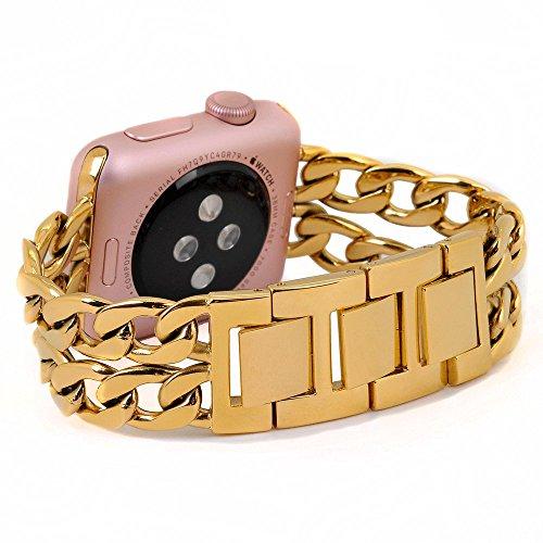 Preisvergleich Produktbild Apple Watch Armband,  PUGO TOP Solides Edelstahl Cowboy Art Gliederarmband für Apple Watch Serie 2 und Serie 1 Alle Modelle,  42mm Goldene