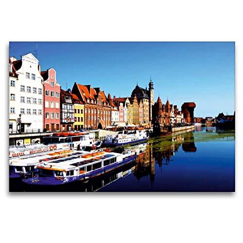 Calvendo Premium Textil-Leinwand 120 cm x 80 cm quer Medieval Port Crane (polnisch: Zuraw Brama) ist EIN Stadttor aus Backstein und Holz | Wandbild, Bild auf Leinwand, Leinwanddruck Orte Orte (Port-polnisch)