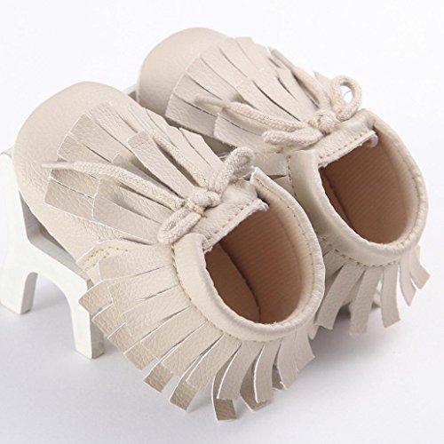 Saingace Bébé Filles Impériale Glands Chaussures Sneakers Casual Chaussures à Semelle Souple (12(12cm/6-12mois), Noir) Beige