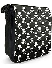 Pirate Skull & Cross Bones Jolly Roger Small Black Canvas Shoulder Bag - Size Small