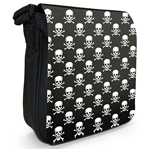 Pirat Totenkopf & gekreuzte Knochen Schwarz Kleine Schultertasche aus schwarzem Canvas -