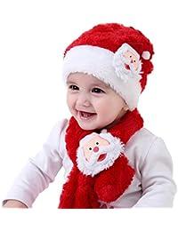 Sombrero y Bufanda de Navidad para Bebés Santa Claus Bicolor Rojo y Blanco Lana Artificial