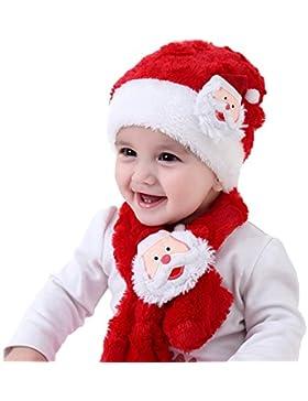 Cappello e Sciarpa Natale Bicolore Santa Rosso e Bianco Cappello Morbido