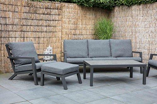 lifestyle4living Lounge Gartenmöbel Set aus Aluminium in grau. Gartenstühle und Bank inkl. Sitzkissen, Keramik-Tischplatte, wetterfest. Ideal für Garten und Terrasse.