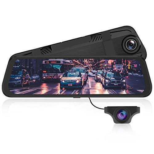Specchietto Retrovisore Auto Dash Cam Streaming Media con schermo da 10 pollici, Dual Lens Dash-Cam con risoluzione 1080P+720P, G-Sensor | Registrazione in Loop | Monitor di Parcheggio - PG02