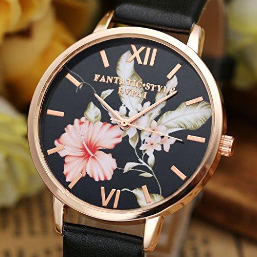 JSDDE Uhren,Vintage Klassische Blumen Damen Armbanduhr Basel-Stil Quarzuhr PU Lederband Rosegold Analog Quarzuhr(Schwarz) - 5