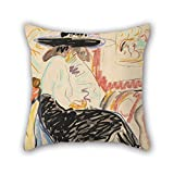 beautifulseason Oil Painting Ernst Ludwig Kirchner - Seated Woman in The Studio Pillow Cases,Best for Lounge,Adults,Indoor,Boy Friend,him,Study Room 18 X 18 Inches/45 by 45 cm(Each Side)