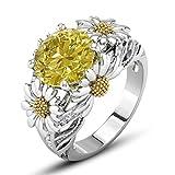 Daisy Flower Eternity Bague Promesse Argent Plaqué Cristal Solitaire Bagues De Mariage 6