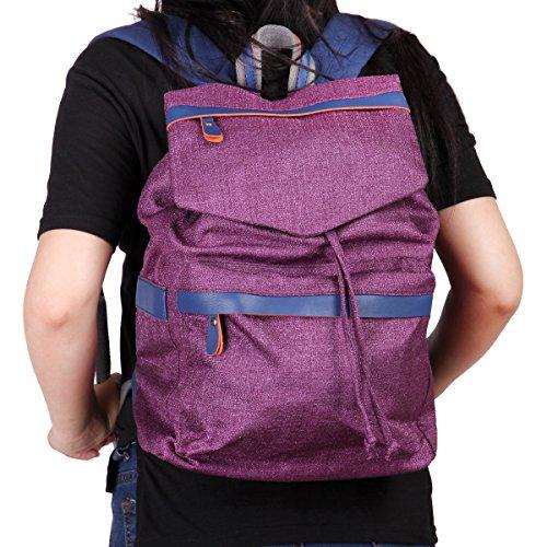 Eshow Damen Canvas Freizeit Wochenende Reise Outdoor Uni Rucksack Tasche Violett