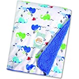 Baby Bucket Double Layer Velvet Fleece Newborn Printed Baby Blanket (WH+MBLUE)