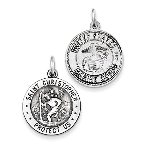 Sterling Silver St. Christopher US Marine Corp Medal by West Coast Jewelry (Christopher Us Marine)