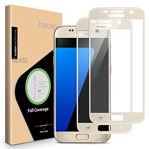 ICHECKEY Verre Trempé Samsung Galaxy S7, [2 pièces] Film de Protection d'écran en Verre Trempé, Anti-Rayures, Anti-Chocs, sans Bulles, Dureté 9H, Film Protecteur pour Samsung Galaxy S7(Or)