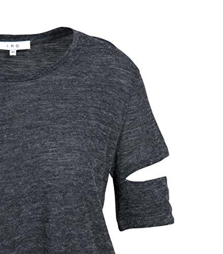 IRO Damen Kurzarm-Shirt in Dunkelgrau Meliert Gry35 anthracite