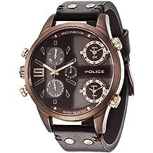 Police Copperhead P14374JSBN-12 – Reloj de pulsera analógico con mecanismo de cuarzo y correa de piel para hombre