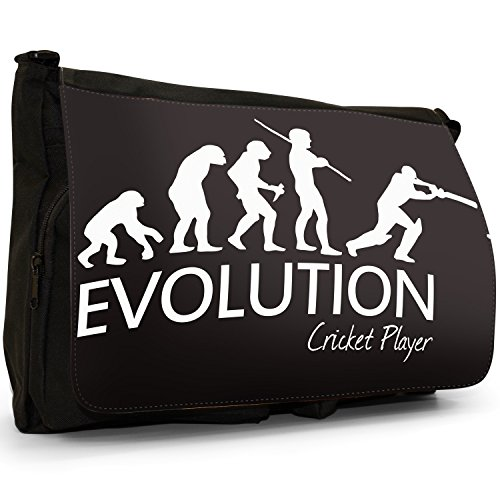 Fancy A Bag Borsa Messenger nero Evolution Of A Skier large Evolution Of A Cricket Player