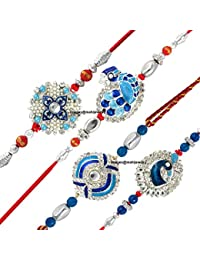 Mahi Combo of Peacock Four Rakhis for Dearest Brothers (Bracelet) CO1104285RC