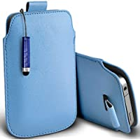 Azzurro Shelfone - protezione in pelle con linguetta per BLACKBERRY CURVE 8310 (L) Pennino Capacitivo