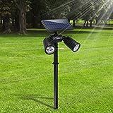 Lámparas Solares Farola Jardín Solar Focos LED Exterior 6 LEDs Luces Impermeable IP65 Apliques de pared Solar Ajustable con 2 Modos para Jardín Patio Pathway Terraza Calzada Cesped Paisaje(2 paquetes)