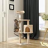 PURLOVE® 3 Tier Kitten Cat Tree with Scratching Post Cat Climbing Tower Activity Centre Cat Scratcher Furniture (Beige)