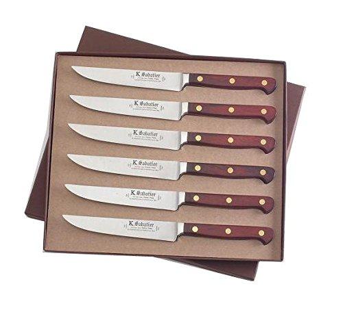 K Sabatier - Coffret De 6 Steaks 13 Cm K Sabatier - Gamme Auvergne - Acier Inoxydable - Manche Bois - 100% Forge - Entièrement Fabrique En France