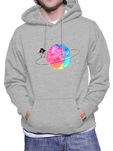 Hoodie da uomo con Girl On A Saturn Ring stampa. XX-Large, Grigio