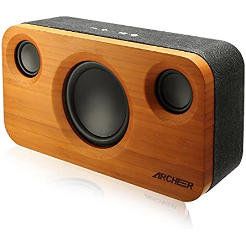 Archeer 25W Altoparlante Bluetooth Speaker Stereo Bamboo 15W Subwoofer con