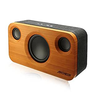 ARCHEER 25W Bluetooth Speakers with Powerful Bass, Home Stereo Speaker System Superior 2.1 Channel Sound, Hi-Fi Bamboo Speakers with Subwoofer